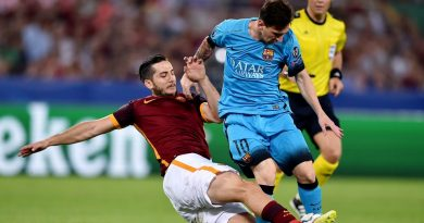 Roma's defender from Greece Kostas Manolas (L) tackles Barcelona's Argentinian forward Lionel Messi (R) during the UEFA Champions League football match between  AS Roma and FC Barcellona at Rome Olympic stadium, on September 16, 2015.  AFP PHOTO / ALBERTO PIZZOLI        (Photo credit should read ALBERTO PIZZOLI/AFP/Getty Images)